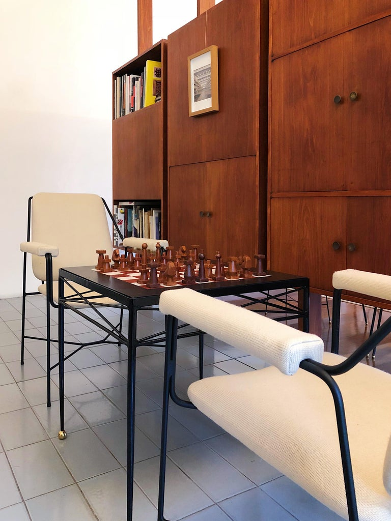 Inlay 1940s Chess Table in Wrought Iron and Marble, France Moderne For Sale