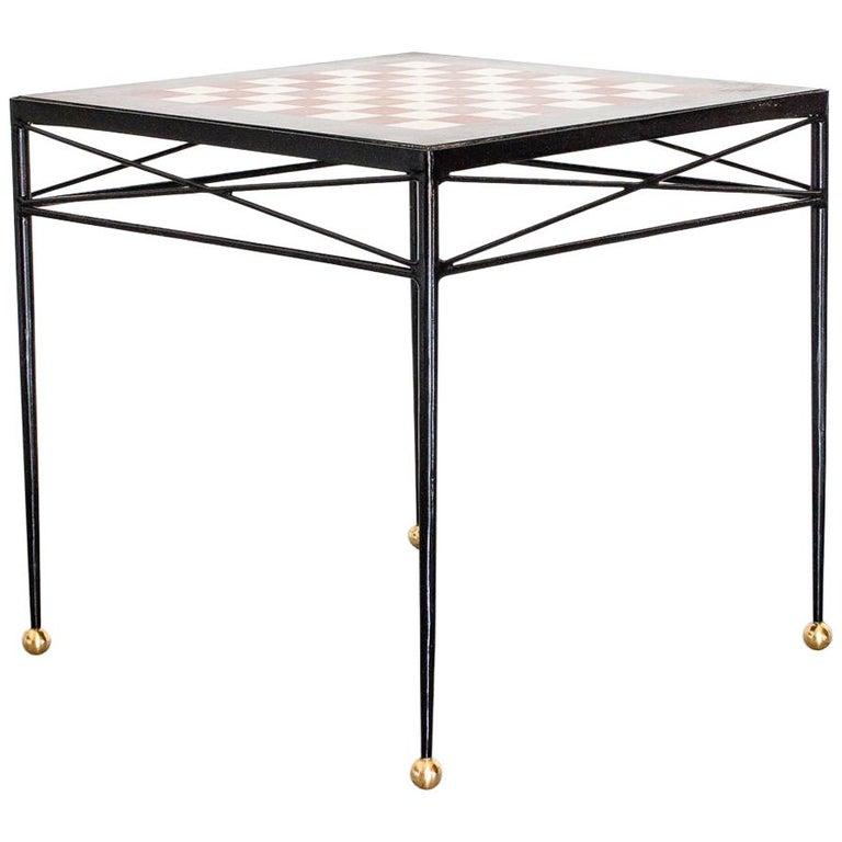 1940s Chess Table in Wrought Iron and Marble, France Moderne For Sale