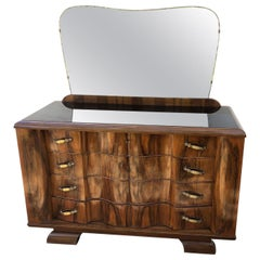 1940's Chest of Drawers Rosewood Walnut Honeycomb Natural Color Italian Design