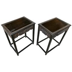 1940s Chinese Carved Side Tables, a Pair