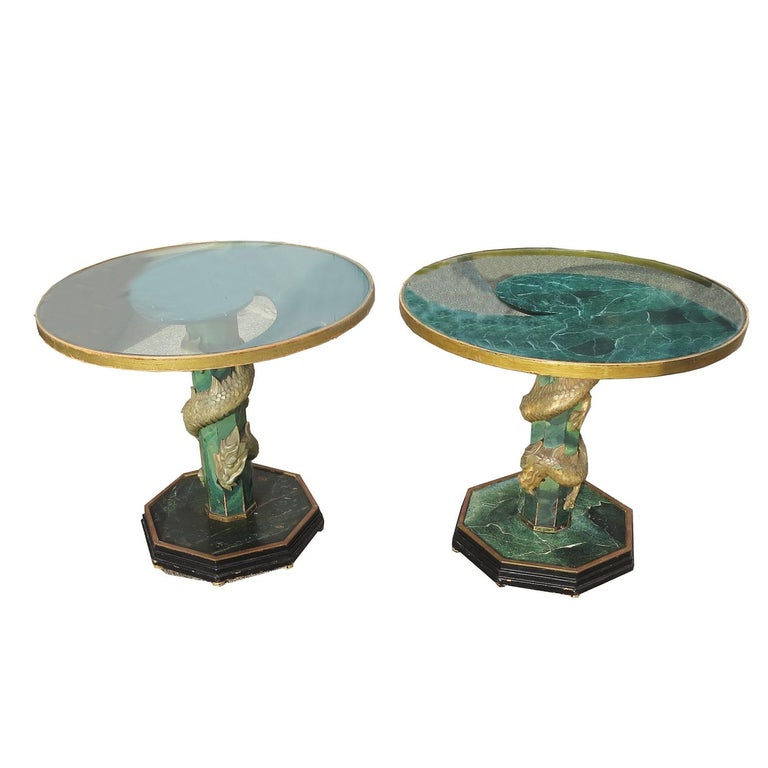 These tables are amazing! Each one has a base of painted wood that is surrounded by carved stone dragons. The tops are glass, with a decorative faux marble painted wood support. One is painted quite elaborately, while the other is a simpler design.
