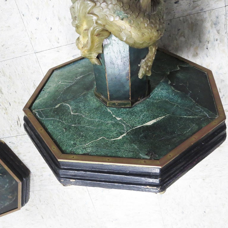 Mid-20th Century 1940' Chinese Stone Dragons Side Tables For Sale