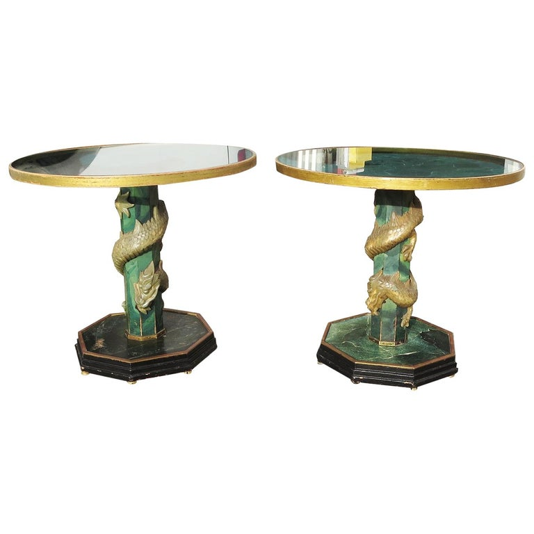 1940' Chinese Stone Dragons Side Tables For Sale