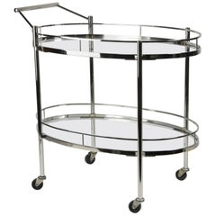 1940s Chrome Bar Cart Trolley by Maxwell-Phillips of New York