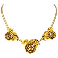 1940s Citrine Diamond Platinum 14 Karat Tri-Colored Gold Flower Retro Necklace