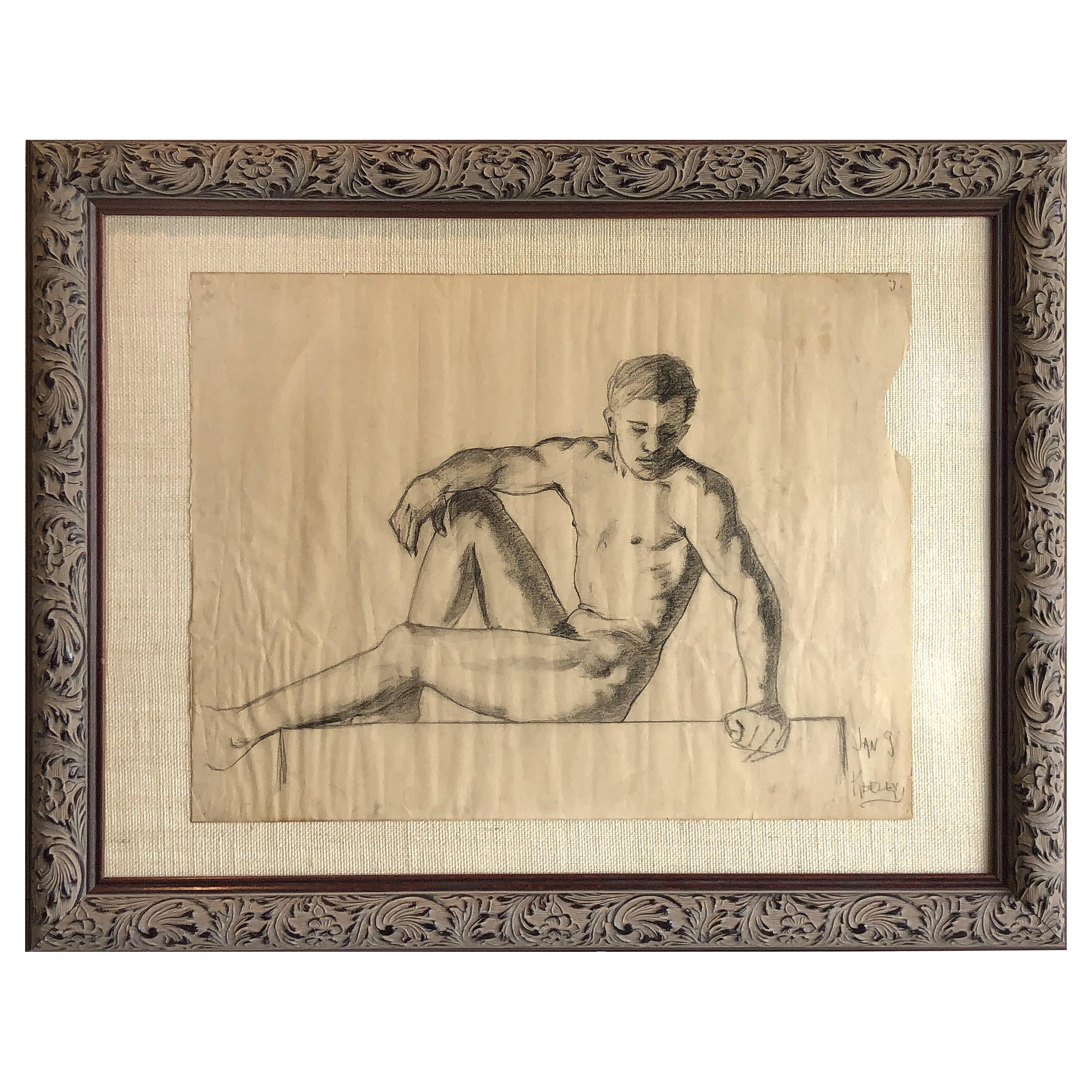 1940s Classical Male Nude Study Pencil Drawing