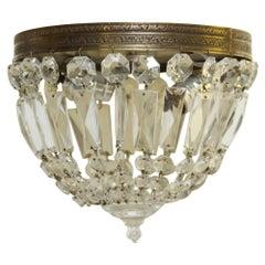 1940s Clear Crystal Basket Bronze Flush Mount Ceiling Lights