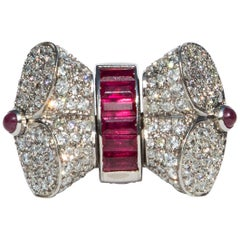 1940s Cocktail Ring with Swivelling Diamond or Ruby