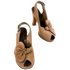 1940s Cocoa Brown Suede Platform Heels