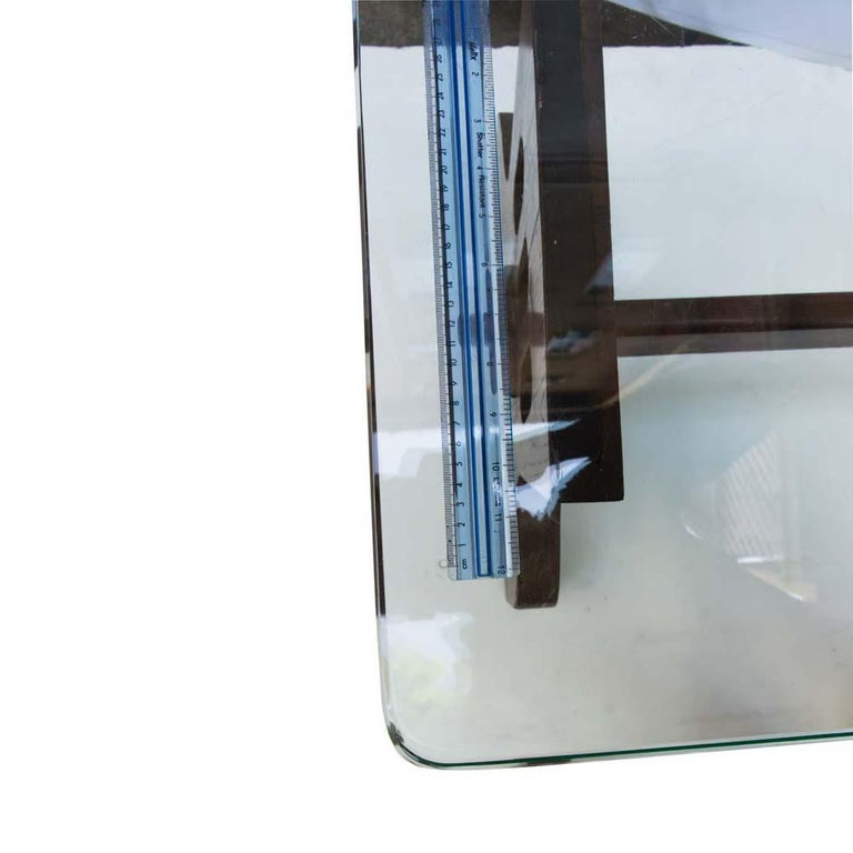 1940s Coffee Table Oak Structure Glass Top Italian, Gio Ponti for Fontana Arte For Sale 5