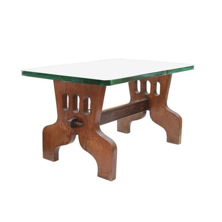 Mid-Century Modern 1940s Coffee Table Oak Structure Glass Top Italian, Gio Ponti for Fontana Arte For Sale