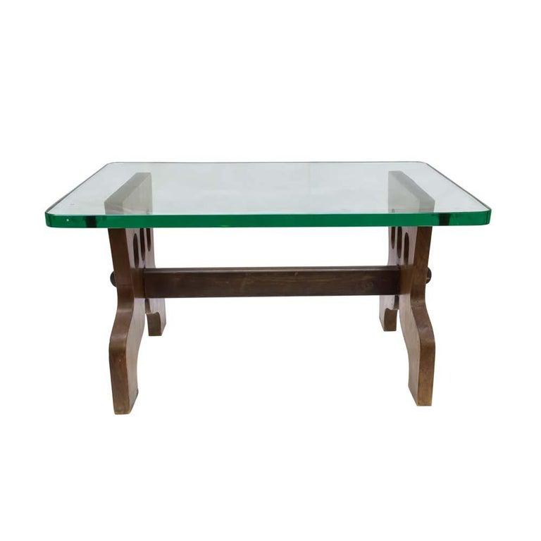 1940s Coffee Table Oak Structure Glass Top Italian, Gio Ponti for Fontana Arte For Sale 2