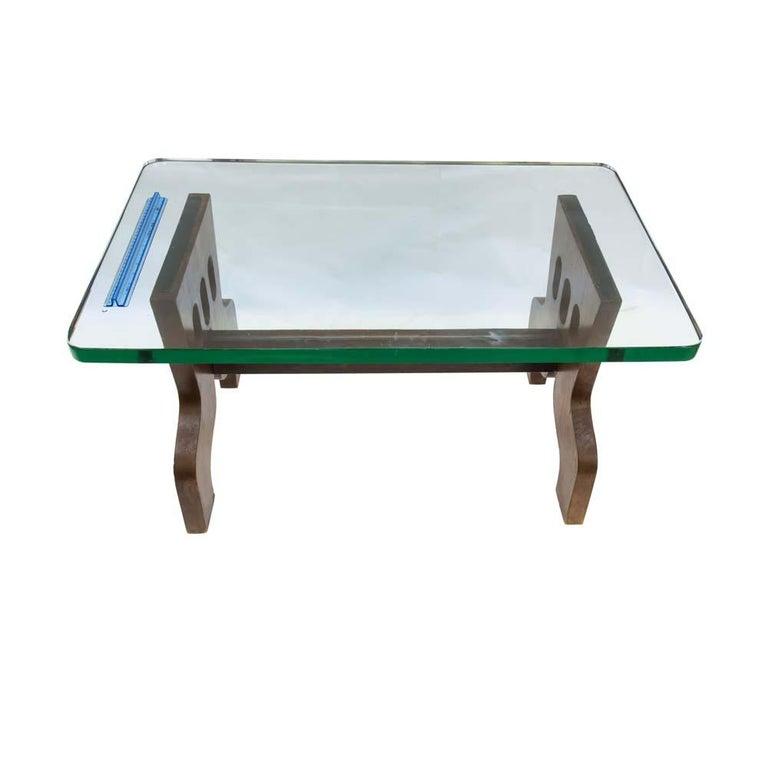 1940s Coffee Table Oak Structure Glass Top Italian, Gio Ponti for Fontana Arte For Sale 3