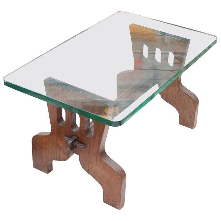 1940s Coffee Table Oak Structure Glass Top Italian, Gio Ponti for Fontana Arte For Sale