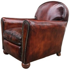 1940s Compact Conquer Brown Leather Club Chair