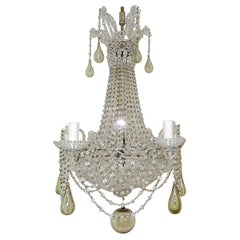 1940s Completely Beaded Basket Green Murano Mouth Blown Drops Chandelier