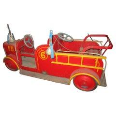 1940s Coney Island Amusement Park Kiddie Car Fire Engine in Original Condition