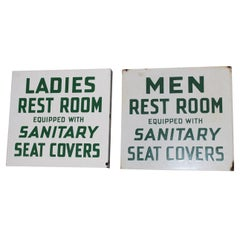 1940s Conoco Restroom Set Porcelain Flange Sign
