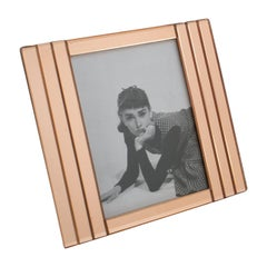 1940s Copper Pink Mirror Geometric Picture Frame