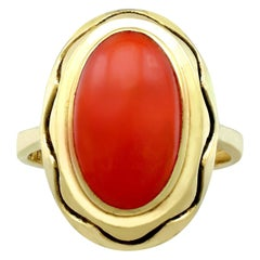 1940s Coral and Yellow Gold Cocktail Ring