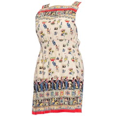 1940S Cotton Egyptian Novelty Printed Dress