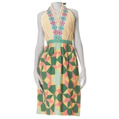 MORPHEW COLLECTION Yellow & Green Cotton 1940S Embroidered Patchwork Dress