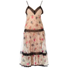 1940S Cotton & Lace Floral Print Slip Dress With Swing Skirt
