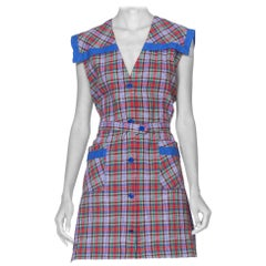 1940'S Blue, Red & Green Plaid Cotton Sailor Collar Shirt Dress