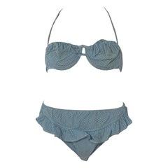 1940S Cotton Underwire Blue Gingham Pin-Up Bikini Set Brasswimsuit