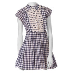 1950S Blue & White Cotton Voile Gingham Baby Doll  Dress