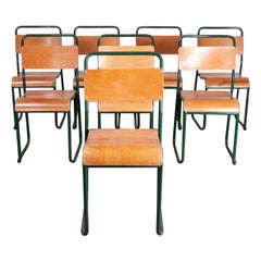 1940s Cox Green Stacking Tubular Metal Dining Chair, Set of Eight