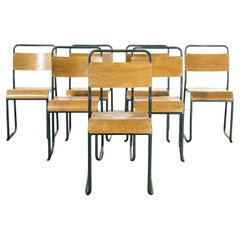 1940's COX Green Stacking Tubular Metal Dining Chair, Set of Seven