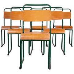 1940s Cox Green Stacking Tubular Metal Dining Chair, Set of Six