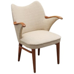 1940s Cream Midcentury Armchair or Side Chair with Exposed Wood Arms