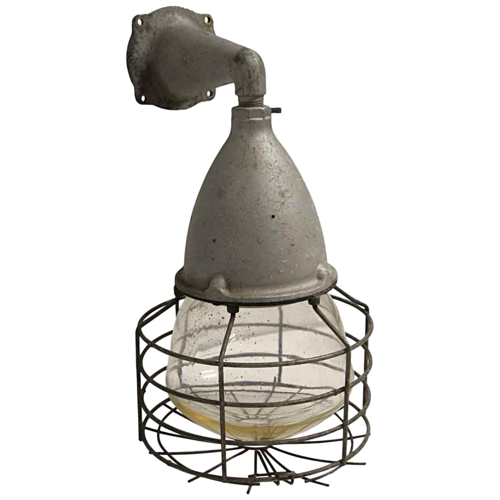 1940s Cross-Hinds Industrial Nautical Cage Light Sconce with Original Glass