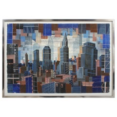 1940's Cubist Art Painting of New York City Skyline by Artist Theodore Hancock