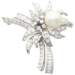 1940s Cultured Pearl 3.92 Carat Diamond and White Gold Brooch