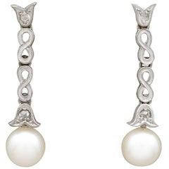 1940s Cultured Pearl Diamond, 14 Carat White Gold Drop Earrings