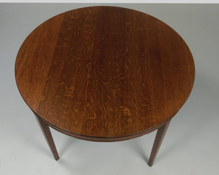 Circular coffee table in oak made as a wedding present by A.J. Iversen in 1946.