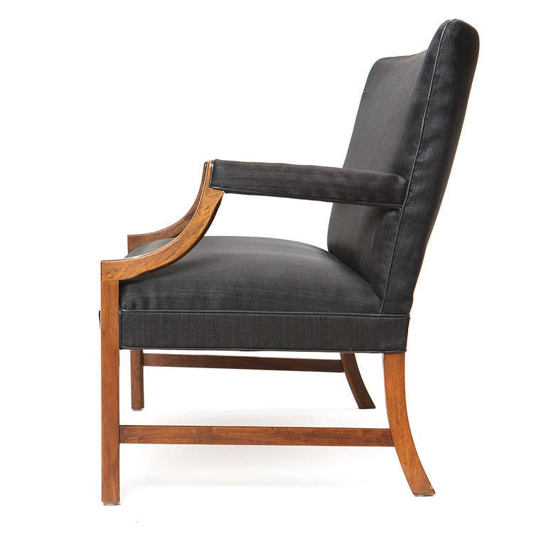 Scandinavian Modern 1940s Danish Black Horsehair Settee by Ole Wanscher for A.J. Iversen For Sale