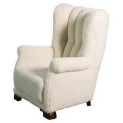 1940s Danish Channel Back Lounge Chair in Lambswool