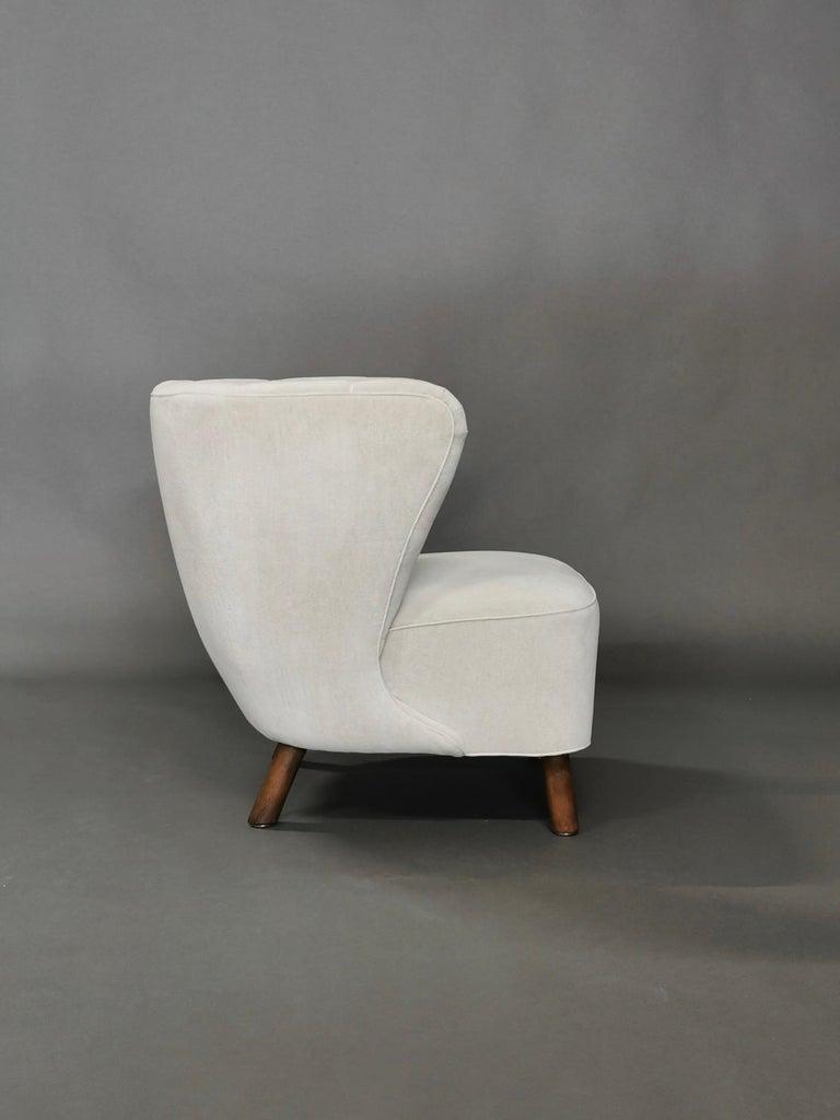 1940s Danish Easy Chair, Velvet Mohair For Sale 4