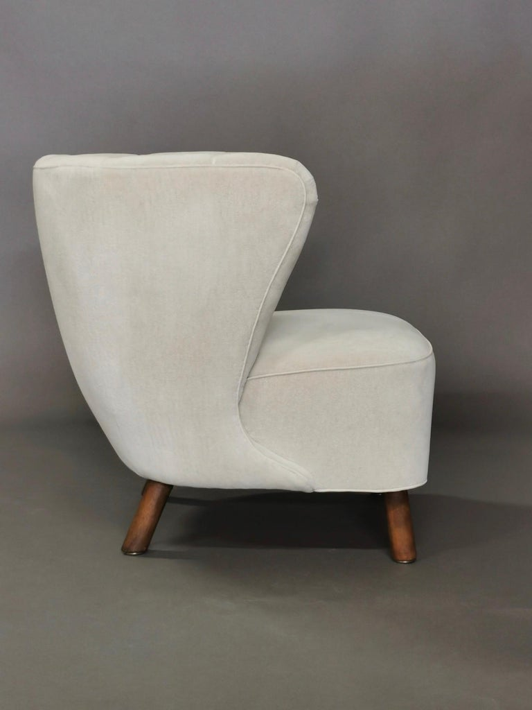 1940s Danish Easy Chair, Velvet Mohair For Sale 5