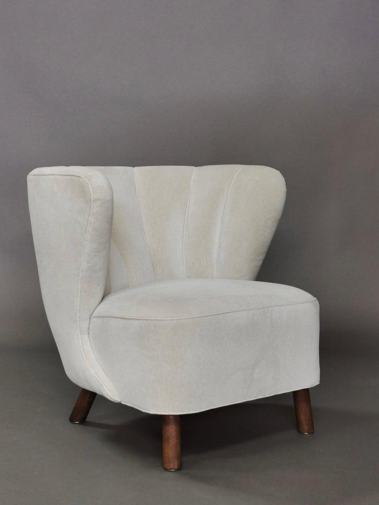 1940s Danish Easy Chair, Velvet Mohair For Sale 6