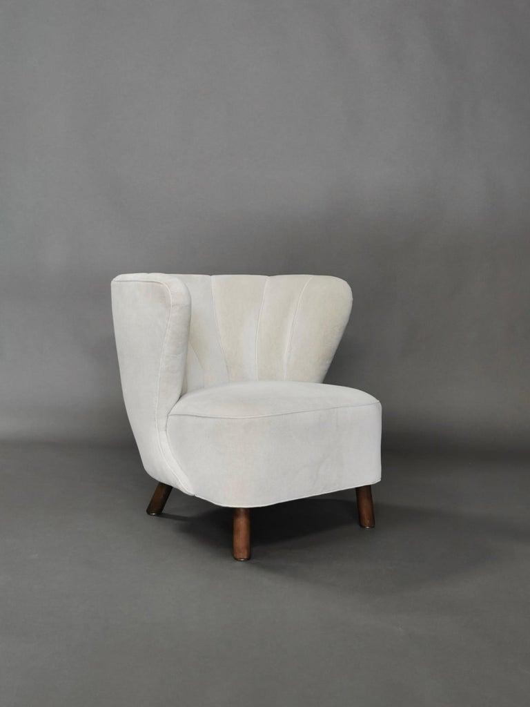 1940s Danish Easy Chair, Velvet Mohair For Sale 7