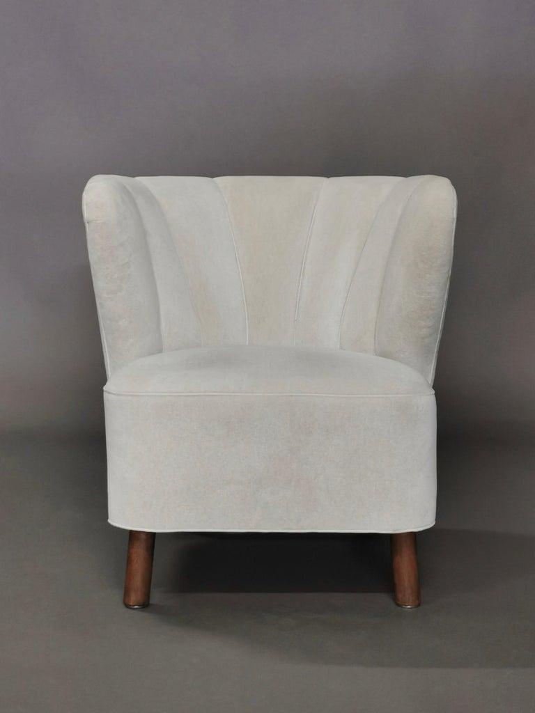1940s Danish Easy Chair, Velvet Mohair For Sale 8
