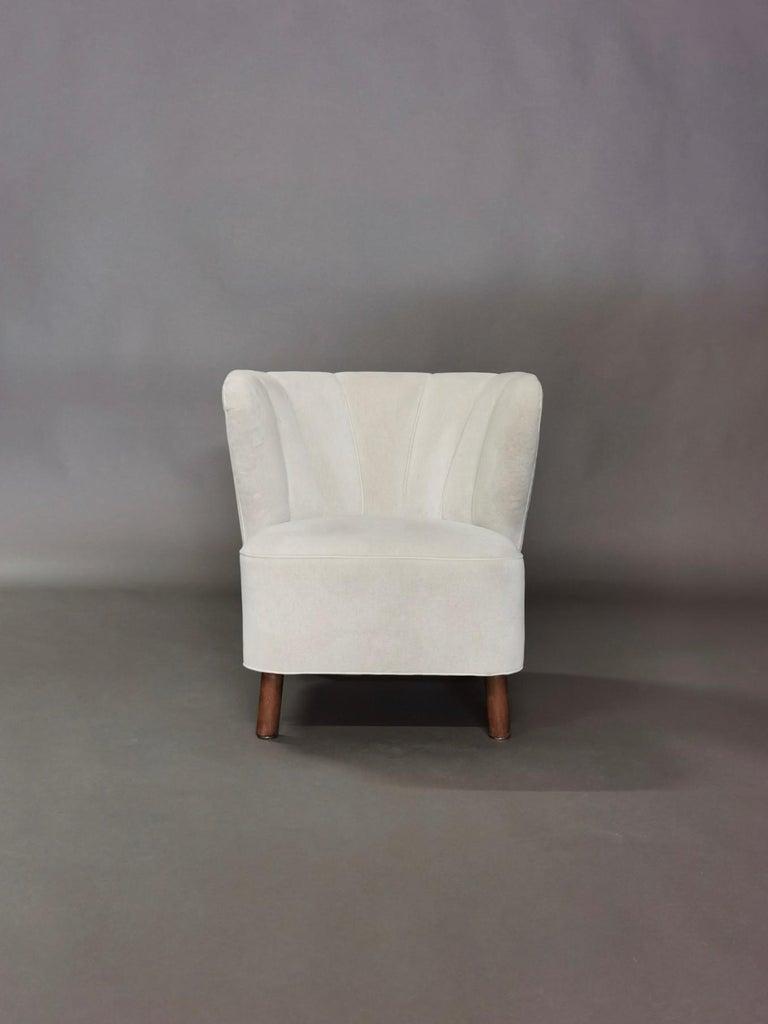 1940s Danish Easy Chair, Velvet Mohair For Sale 9
