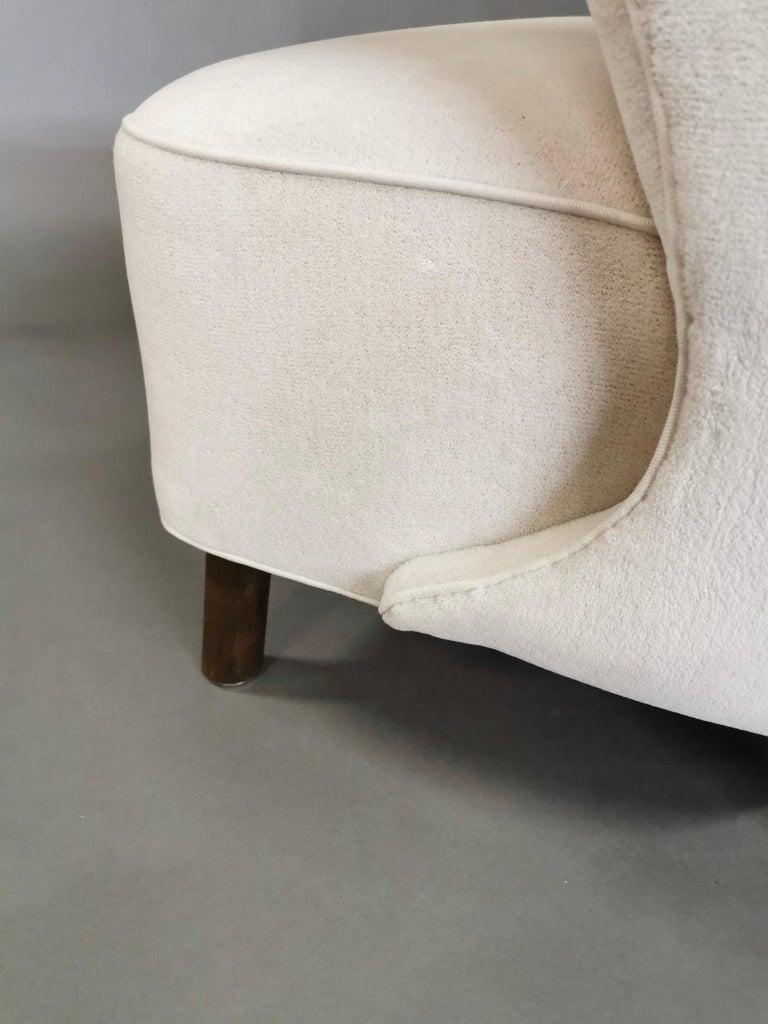 1940s Danish Easy Chair, Velvet Mohair For Sale 11