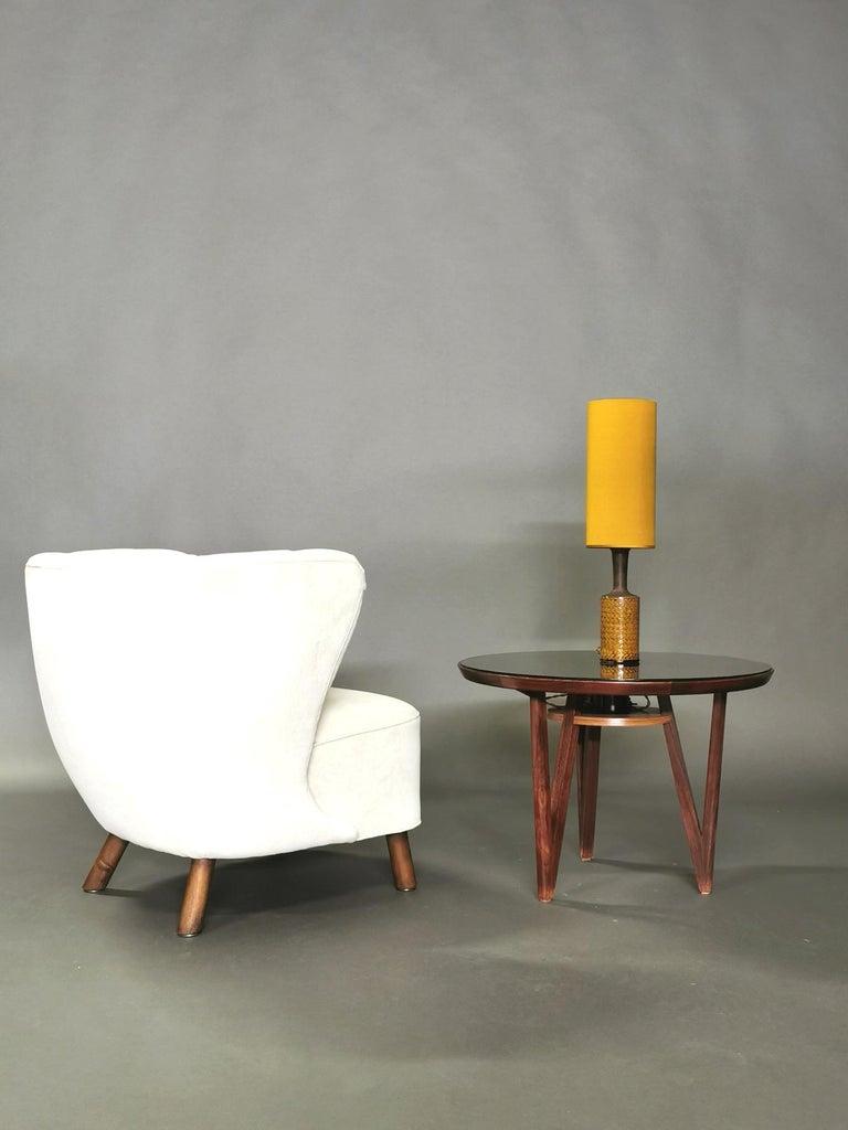 1940s Danish Easy Chair, Velvet Mohair For Sale 14