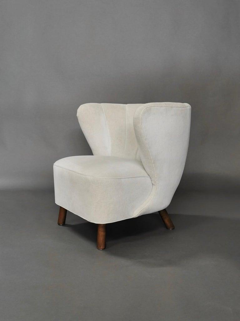 Scandinavian Modern 1940s Danish Easy Chair, Velvet Mohair For Sale